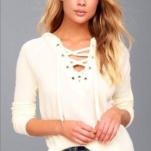 Sweaters - EUC cream lace up sweater